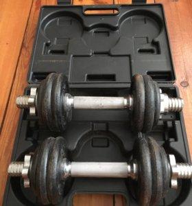 Набор разборных гантелек - общий вес 16 кг.