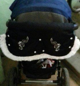 Манишка на коляску меховая