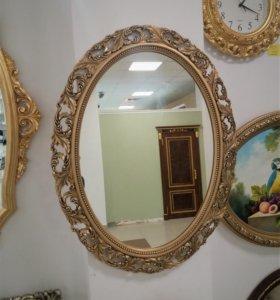 Зеркало овальное в резной раме