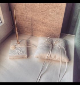 Свадебный набор,подушка для колец,ручка