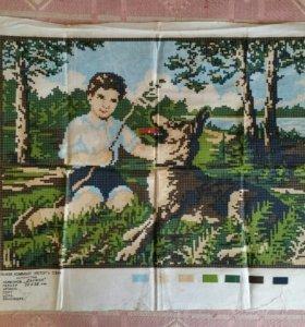 Винтажная схема вышивки на полотне (крестиком)