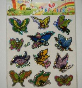 Наклейки Бабочки с блестками