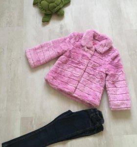 Шубка и джинсы 4-5 лет