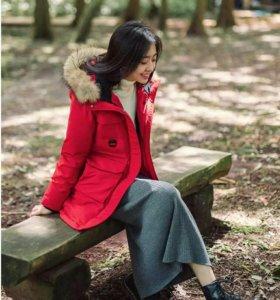 Парка с натуральным мехом 90 by Xiaomi красная