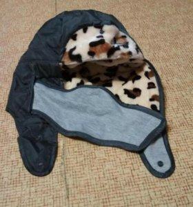 Шапка с закрытыми ушами и носом леопардовая серая