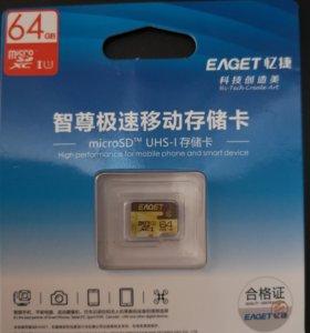 Карты памяти Eaget microSDHC 64Gb