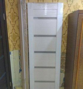 Дверное полотно с наличником 70*200 белая листвен