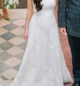 Свадебное платье, итальянское кружево, айвори
