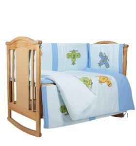 Новый Комплект из 6 предметов в кроватку