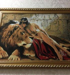 КАРТИНА «Клеопатра со львом» (гобелен)