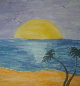 Картина с пляжем