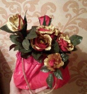 """Авторкая работа """"цветы с конфетами"""""""