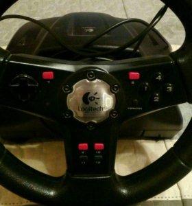 Игровой компьютерный руль с педалями