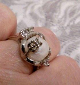 Кольцо с настоящим жемчугом