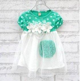 Новое Праздничное платье для малышки зеленое