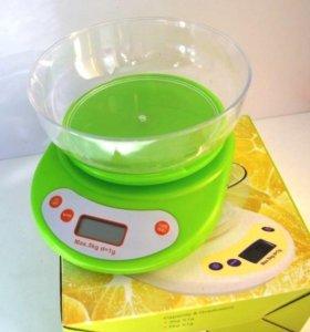 Электронные кухонные весы с чашей до 5кг, новые