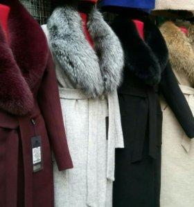 Пальто с мехом арт907