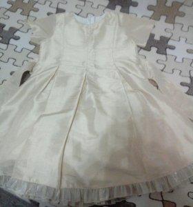 Платье серебристо -бежевое