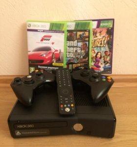 Xbox 360 250GB+2 геймпада+3 игры