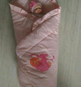 Одеяло (конверт) на выписку на овчине