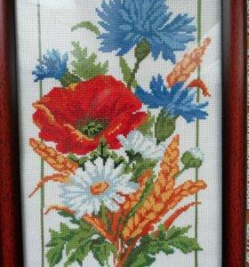 """Картина, вышивка крестом """"Полевые цветы"""""""