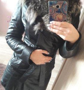 Кожаная куртка зимняя 42-44р