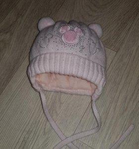 Зимняя шапочка от рождения до 6 мес.