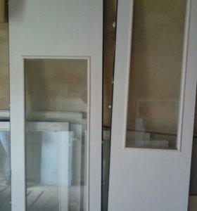 Окно с балконной дверью в коробке и со стеклопакет