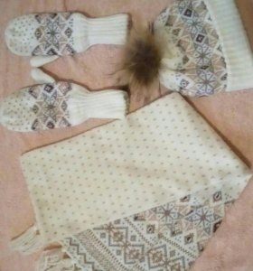 Шапка + шарф + варежки