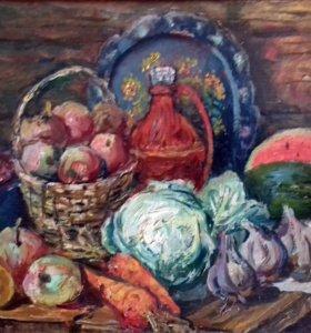"""Картина """"Овощи и фрукты"""" 31*42 картон, масло"""