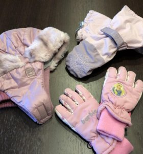 Шапка краги варежки перчатки
