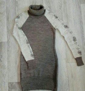 Платье-свитер, теплое