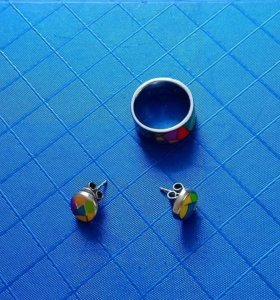 Набор кольцо+серьги