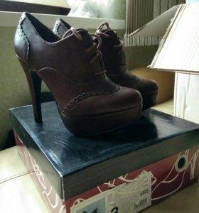 Ботильоны коричневые на шнуровке