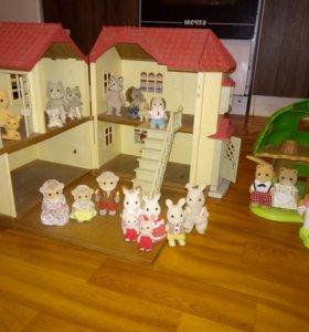 Дом со светом Sylvanian families,дерево, семьи.