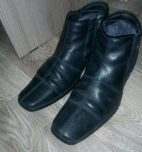 Кожанные ботинки зимние 39