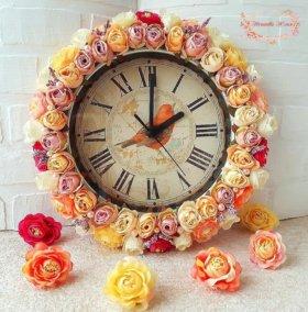 """Настенные часы """"Нежность роз"""""""