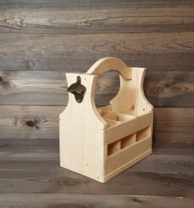 Деревянный ящик переноска для бутылок