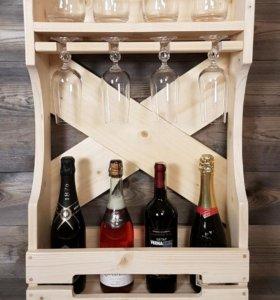 Барная полка / винная полка для алкоголя и бокалов