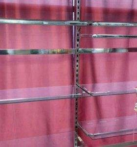Стеллаж стеклянный с железными опорами