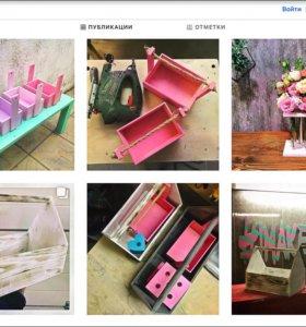 Декоративные ящики в стиле и цветочные колбы Loft