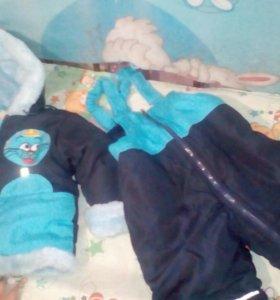 Детский теплый костюм, новый на возраст 1-1.5
