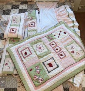 Бортики+одеяло+юбочка для кровати, в стиле печворк
