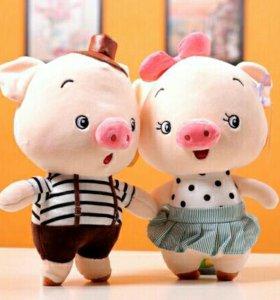 Мягкая игрушка свинка мальчик девочка символ года