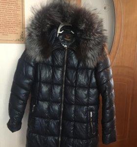 Зимний кожаный пуховик срочно, состояние идеальное