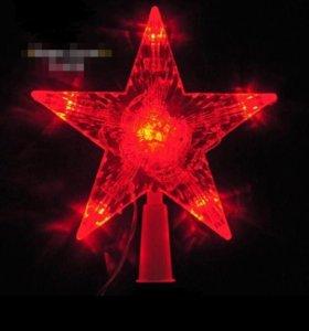 Светящаяся красная светодиодная звезда новый год