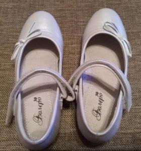 Туфли кожаные на девочку, размер 30