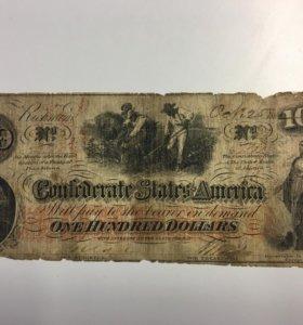 банкнота 100 долларов Конфедерации