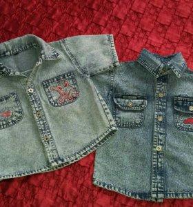 Лот джинсовых рубашек на рост 98-104 см