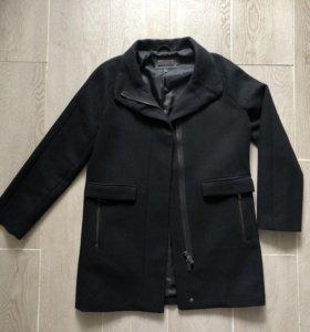 Пальто Mango шерстяное чёрное женское